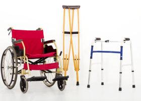 wheelchair and crutches